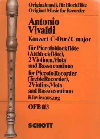 For piccolo recorder (treble recorder), 2 violins, viola and basso continuo