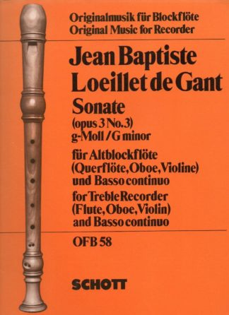 Jean Baptiste Loeillet de Gant Sonate (opus 3 No.3) g-Moll /G minor